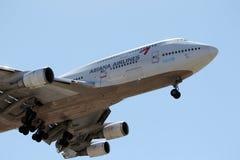 特写镜头韩亚航空波音747-48E 免版税库存图片