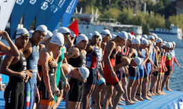 特写镜头,等待起动信号的男性游泳竞争者 库存图片