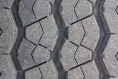 特写镜头,表面的轮胎踩穿戴通过使用汽车 图库摄影