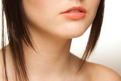 特写镜头嘴唇妇女 免版税库存图片