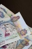特写镜头货币迪拉姆注意阿拉伯联合&# 库存照片