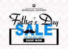 特别例证为父亲节,购物的折扣图象 库存例证