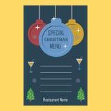 特别圣诞节餐馆菜单平的设计模板 库存图片
