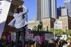 特别妇女3月事件和抗议者在洛杉矶附近 免版税库存照片