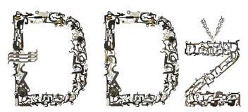 特别字母表塞尔维亚-克罗地亚信件从金属零件聚集 库存照片