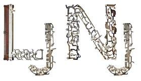 特别字母表塞尔维亚-克罗地亚信件从金属零件聚集 免版税库存图片