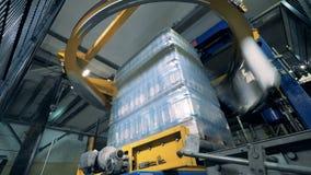 特别机器在工厂,底视图包裹瓶 股票视频