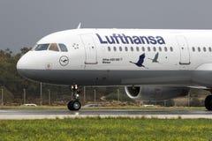 特别色彩设计汉莎航空公司A321 库存照片
