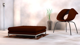特别设计家具在陈列室里 免版税库存图片