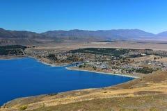 特卡波湖鸟瞰图从登上约翰观测所的在坎特伯雷 库存照片