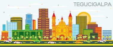 特古西加尔巴洪都拉斯与颜色大厦和蓝色的市地平线 向量例证