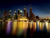 特大号nightscene新加坡 免版税库存照片