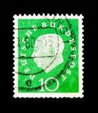 特奥多尔・豪斯医生教授1884-1963,第1位德国总统, serie,大约1959年 免版税库存照片