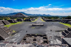 特奥蒂瓦坎废墟,阿兹台克废墟,墨西哥看法  库存图片