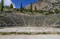 特尔斐希腊 特尔斐古老剧院在特尔斐考古学站点  库存图片