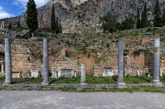 特尔斐考古学站点在福基斯州,希腊 库存图片