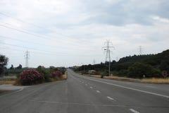 特尔斐镇希腊 06 17 2014年 向特尔斐镇的路希腊的南部的 库存照片