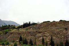 特尔斐镇希腊 06 17 2014年 落矶山脉的本质的风景在特尔斐附近镇的希腊的南部的 免版税图库摄影