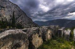 特尔斐,福基斯州/希腊 一部分的特尔斐考古学站点  库存照片