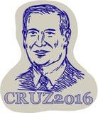 特德Cruz 2016总统年Drawing 免版税库存照片