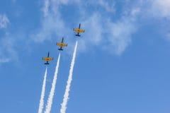 特技动作飞行航空L-159美国皮革化学家协会鲁斯在空气的在航空体育比赛期间致力DOSAAF第80周年  库存图片
