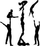 特技动作 体操运动员杂技演员传染媒介黑色剪影 体操运动员杂技演员传染媒介 向量例证