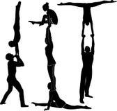 特技动作 体操运动员杂技演员传染媒介黑色剪影 体操运动员杂技演员传染媒介 库存例证