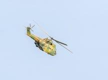 特技elicopter驾驶在城市的天空的训练 美洲狮elicopter,海军,军队钻子 免版税库存照片