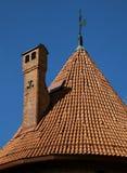 特拉凯城堡的塔屋顶在维尔纽斯附近的 库存图片
