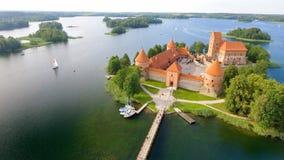 特拉凯城堡,立陶宛鸟瞰图  库存图片