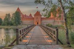 特拉凯海岛城堡在维尔纽斯旁边的立陶宛 免版税图库摄影