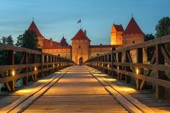 特拉凯海岛城堡在维尔纽斯旁边的立陶宛 库存照片