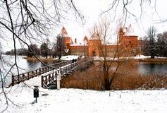特拉凯,维尔纽斯,立陶宛,东欧中世纪城堡,在冬天 免版税库存照片
