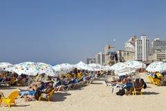 在海滩的夏天在特拉唯夫以色列 库存照片