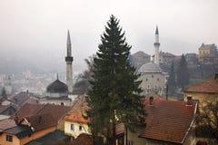 特拉夫尼克 地区莫斯科一幅全景 达成协议波斯尼亚夹子色的greyed黑塞哥维那包括专业的区区映射路径替补被遮蔽的状态周围的领土对都市植被 免版税图库摄影