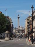 特拉法加广场和纳尔逊专栏在伦敦 库存图片