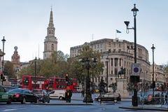 特拉法加广场(从查令十字的看法),伦敦 免版税库存照片