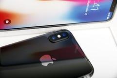 特拉维夫,以色列- 2017年11月23日:Iphone x巧妙的电话 最新苹果计算机Iphone 10手机 库存图片