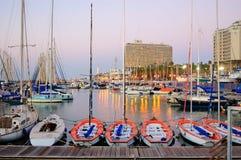 特拉维夫小游艇船坞海滩,以色列 库存照片