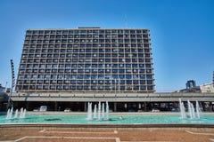 特拉维夫- 10 02 2017年:著名伊扎克・拉宾广场,天时间 库存照片