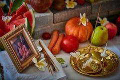 特拉维夫- 10 05 2017年:Beautfil安排了早期梵文的婚礼的地方 库存照片