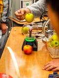 特斯拉作用用苹果 免版税图库摄影