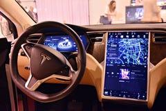 特斯拉模型x 90D汽车内部  图库摄影