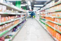 特权分布式网络商店零售业财政概念 被弄脏的超级市场背景 免版税库存图片