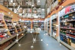 特权分布式网络商店零售业财政概念 被弄脏的超级市场背景 图库摄影