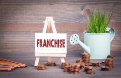 特权,企业概念 有新鲜的绿色春天草和零钱的微型喷壶 免版税图库摄影