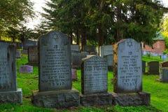 特洛伊8月2017年, NY美国:在特洛伊NY的犹太公墓场面在一个夏日 免版税库存照片