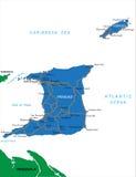 特立尼达&多巴哥地图 免版税库存照片