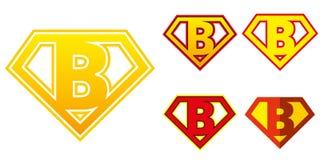 特级英雄商标在超级英雄字母表上写字 免版税图库摄影