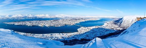 特罗姆瑟全景从Fjellstua的 库存图片